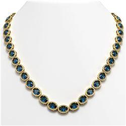 55.41 CTW London Topaz & Diamond Halo Necklace 10K Yellow Gold - REF-576F2N - 40591