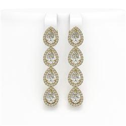 6.01 CTW Pear Diamond Designer Earrings 18K Yellow Gold - REF-1127H6A - 42739