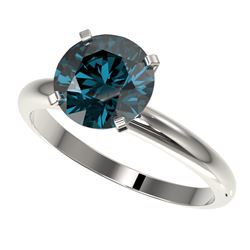 2.50 CTW Certified Intense Blue SI Diamond Solitaire Engagement Ring 10K White Gold - REF-608H5A - 3