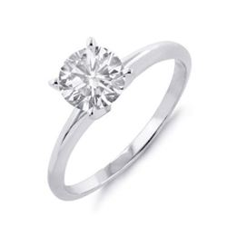1.0 CTW Certified VS/SI Diamond Solitaire Ring 18K White Gold - REF-593F8N - 12096