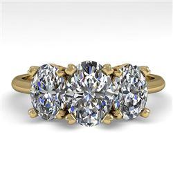 2.0 CTW Oval Cut VS/SI Diamond 3 Stone Designer Ring 18K Yellow Gold - REF-390F2N - 32470