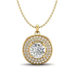 1.25 CTW VS/SI Diamond Solitaire Art Deco Necklace 18K Yellow Gold - REF-272X8T - 37261