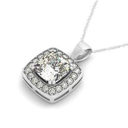 1.5 CTW Cushion Cut VS/SI Diamond Solitaire Halo Necklace 14K White Gold - REF-425M3H - 30078
