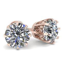 1.50 CTW VS/SI Diamond Stud Solitaire Earrings 18K Rose Gold - REF-262T5M - 35678