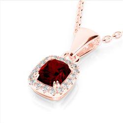 1.25 CTW Garnet & Micro Pave VS/SI Diamond Halo Necklace 10K Rose Gold - REF-27A3X - 22884