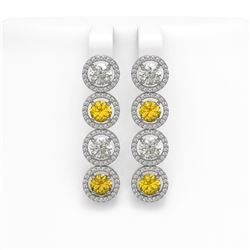 6.18 CTW Canary Yellow & White Diamond Designer Earrings 18K White Gold - REF-887M6H - 42692