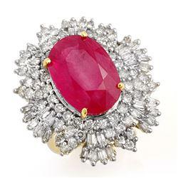12.16 CTW Ruby & Diamond Ring 14K Yellow Gold - REF-363T3M - 12966