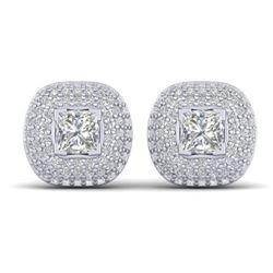 2 CTW Princess VS/SI Diamond Art Deco Stud Micro Halo Earrings 14K White Gold - REF-255K3W - 30447