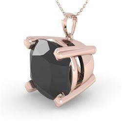 6.0 CTW Cushion Black Diamond Designer Necklace 14K Rose Gold - REF-131F3N - 38442