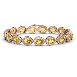 15.91 CTW Fancy Citrine & Diamond Halo Bracelet 10K Rose Gold - REF-276F2N - 41133