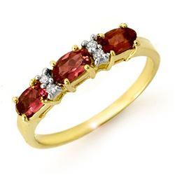 0.83 CTW Pink Tourmaline & Diamond Ring 10K Yellow Gold - REF-23Y5K - 13717