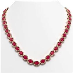 52.15 CTW Ruby & Diamond Halo Necklace 10K Rose Gold - REF-655H3A - 40557