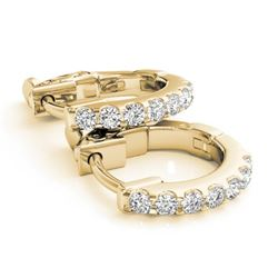 0.25 CTW Diamond VS/SI Certified Hoop Earrings 14K Yellow Gold - REF-27Y3K - 29208