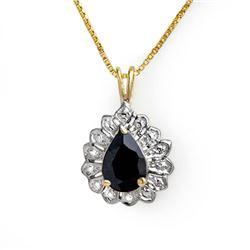 1.10 CTW Blue Sapphire Pendant 10K Yellow Gold - REF-9A8X - 13635
