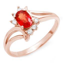 0.70 CTW Red Sapphire & Diamond Ring 14K Rose Gold - REF-24X4T - 10229
