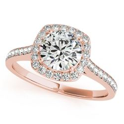 1.4 CTW Certified VS/SI Diamond Solitaire Halo Ring 18K Rose Gold - REF-382T4M - 26875