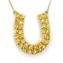 2.0 CTW Yellow Sapphire Necklace 10K Yellow Gold - REF-47F3N - 11709