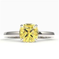 1.50 CTW Cushion Cut Citrine Designer Engagement Ring 18K White Gold - REF-27M3H - 22138