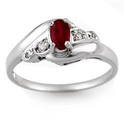 0.49 CTW Ruby & Diamond Ring Solid 10K White Gold - REF-17H3A - 10315