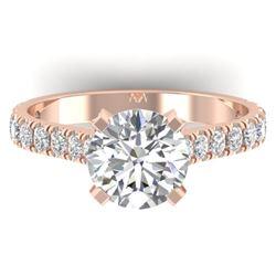 2.4 CTW Certified VS/SI Diamond Solitaire Art Deco Ring 14K Rose Gold - REF-674M2H - 30442
