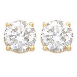 1.0 CTW Certified VS/SI Diamond Solitaire Stud Earrings 14K Yellow Gold - REF-178F2N - 13530