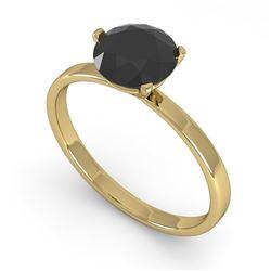 1.0 CTW Black Certified Diamond Engagement Ring Martini 14K Yellow Gold - REF-28X5T - 38330
