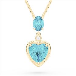 4 CTW Sky Blue Topaz & VS/SI Diamond Heart Necklace 10K Yellow Gold - REF-26H2A - 22528