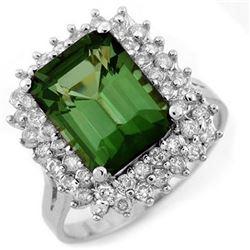 4.75 CTW Green Tourmaline & Diamond Ring 18K White Gold - REF-134M8H - 11698