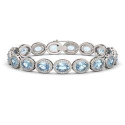 24.32 CTW Sky Topaz & Diamond Halo Bracelet 10K White Gold - REF-248A9X - 40631