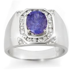 3.10 CTW Tanzanite & Diamond Men's Ring 14K White Gold - REF-119X5T - 14465