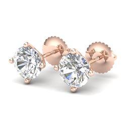 2 CTW VS/SI Diamond Solitaire Art Deco Stud Earrings 18K Rose Gold - REF-591X2T - 37305