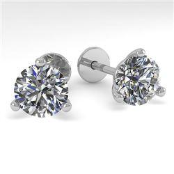 2.0 CTW Certified VS/SI Diamond Stud Earrings Martini 18K White Gold - REF-570T2M - 32214