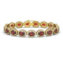 21.98 CTW Garnet & Diamond Halo Bracelet 10K Yellow Gold - REF-247X6T - 40648
