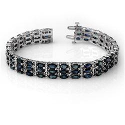 30.26 CTW Blue Sapphire & Diamond Bracelet 14K White Gold - REF-381H5A - 11353