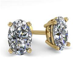 1.0 CTW Oval Cut VS/SI Diamond Stud Designer Earrings 14K Yellow Gold - REF-148K5W - 38360