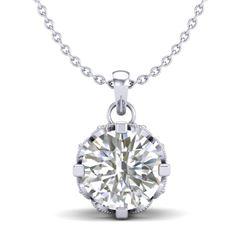 1.14 CTW VS/SI Diamond Solitaire Art Deco Stud Necklace 18K White Gold - REF-205H5A - 36842