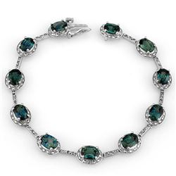 15.40 CTW Blue Sapphire & Diamond Bracelet 14K White Gold - REF-128A2X - 11734