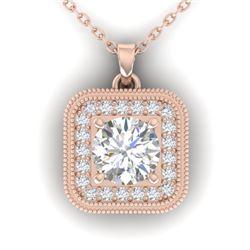 1.32 CTW Certified VS/SI Diamond Art Deco Micro Halo Necklace 14K Rose Gold - REF-193T3M - 30502