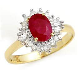 1.55 CTW Ruby & Diamond Ring 10K Yellow Gold - REF-44K5W - 13205