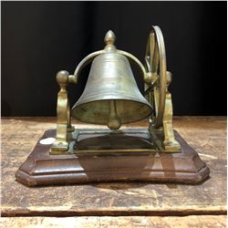 Antique Brass and Wood Servants Bell