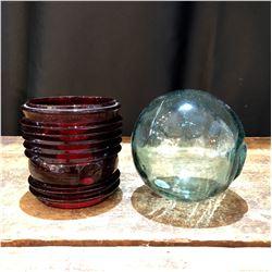Vintage Dietz Fresnel Lens and Japanese Fishing Float