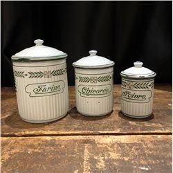 Vintage French Enamel Spice Jar Set