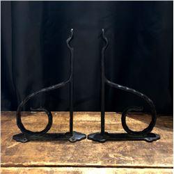 Pair of Vintage Cast Metal Plant Hangers