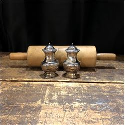 Antique Pine Rolling Pin and Birks Regency Salt and Pepper Shakers