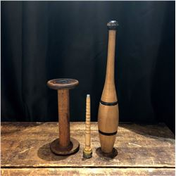 Antique Collection of a Victorian exercise weight and sewing spindles