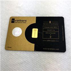 Karat Bars 1g Fine 999.9 Gold Bullion