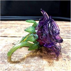 Hand Blown Art Glass Flower