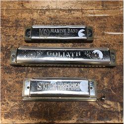 Lot of 3 Vintage Harmonicas