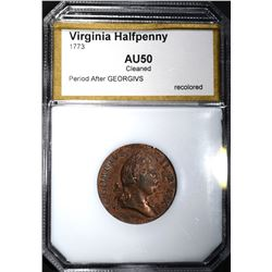 1773 VIRGINIA HALF PENNY PCI AU Cleaned