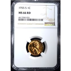 1955-S LINCOLN CENT NGC MS66RD